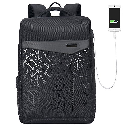 Aoking College 15.6 Laptop USB Backpack - Black