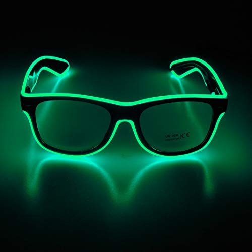 Aquat Light up El Wire Neon Rave Glasses - FLUORESCENT GREEN