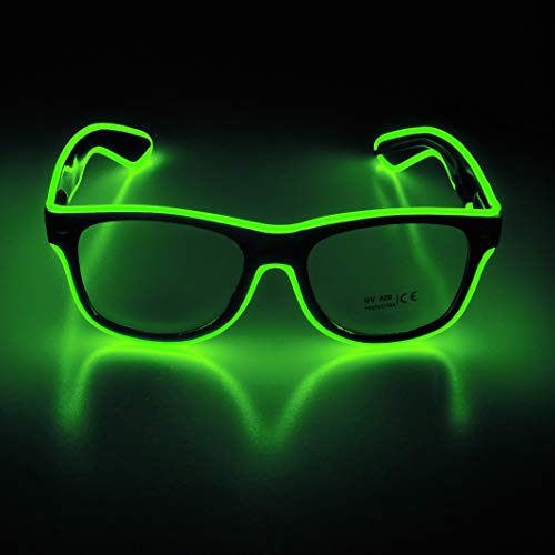 Aquat Light up El Wire Neon Rave Glasses - NEON GREEN