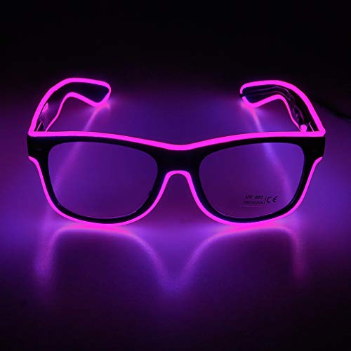 Aquat Light up El Wire Neon Rave Glasses - PINK