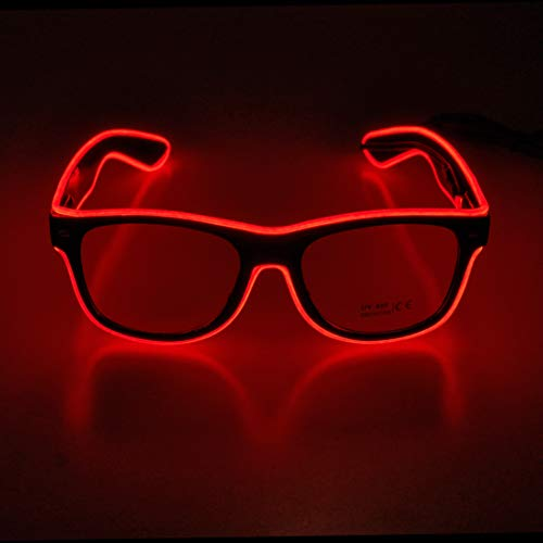 Aquat Light up El Wire Neon Rave Glasses - RED