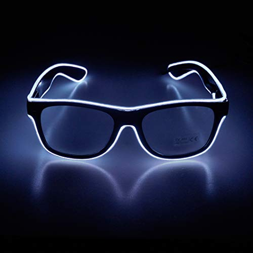Aquat Light up El Wire Neon Rave Glasses - WHITE