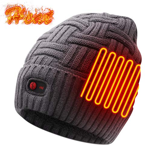Autocastle Men Women Rechargeable Electric Warm Heated Hat Winter Battery Heat Skull Beanie (Thick-Strips-Grey, One Size)