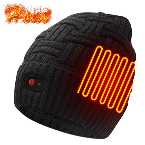 Autocastle Men Women Rechargeable Electric Warm Heated Hat Winter Battery Heat Skull Beanie (Thick-Strips-Black, One Size)