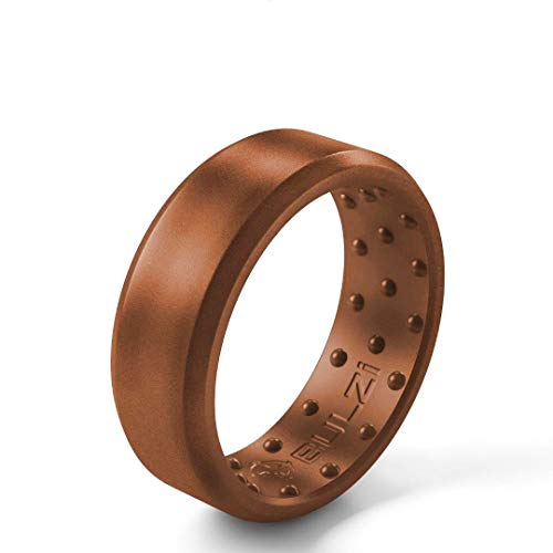 BULZi Wedding Bands, USA Lifetime Replacement, Massaging Comfort Fit Silicone Ring with Airflow, Men and Women Rings Breathable Comfortable Work Safety (Bronze Beveled, Size 9 - (7mm Width Band))