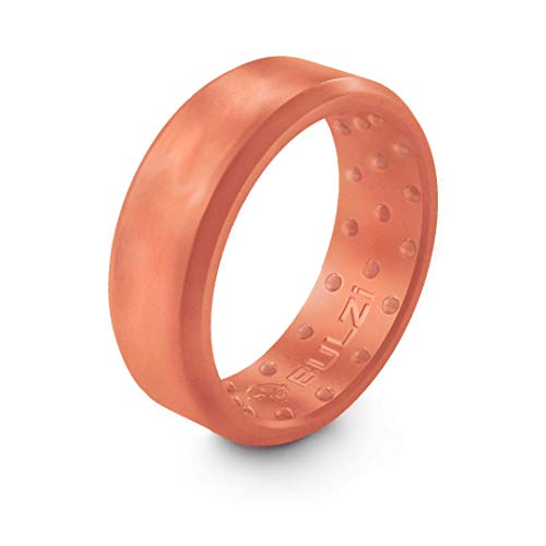 BULZi Wedding Bands, USA Lifetime Replacement, Massaging Comfort Fit Silicone Ring with Airflow, Men and Women Rings Breathable Comfortable Work Safety (Rose Gold, Size 9 - (7mm Width Band))