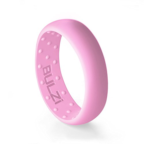 BULZi Wedding Bands, USA Lifetime Replacement, Massaging Comfort Fit Silicone Ring with Airflow, Men and Women Rings Breathable Comfortable Work Safety (Pink, Size 8 - (6mm Width Band))