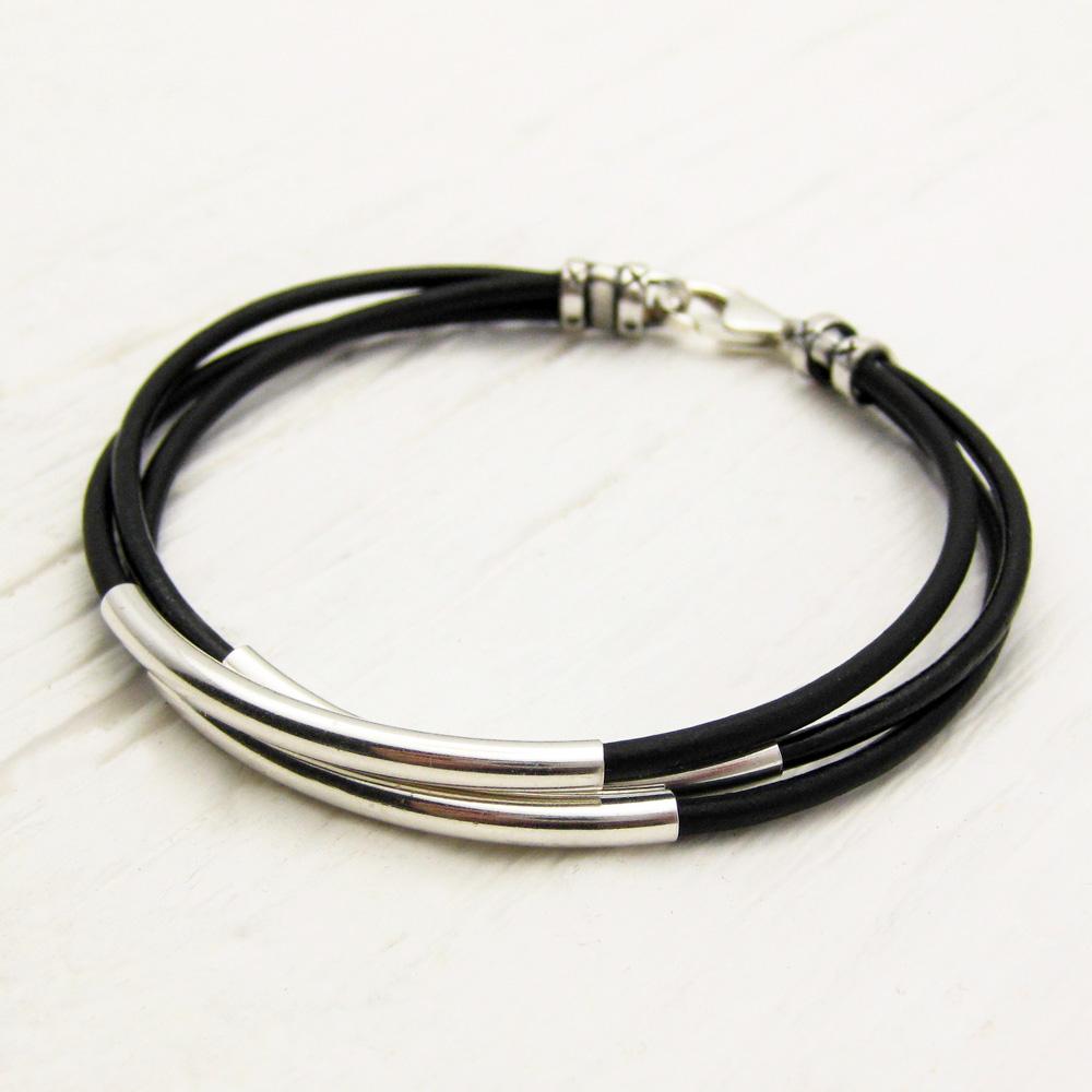 byJodi Jewelry   Black Leather & Sterling Silver Bracelet
