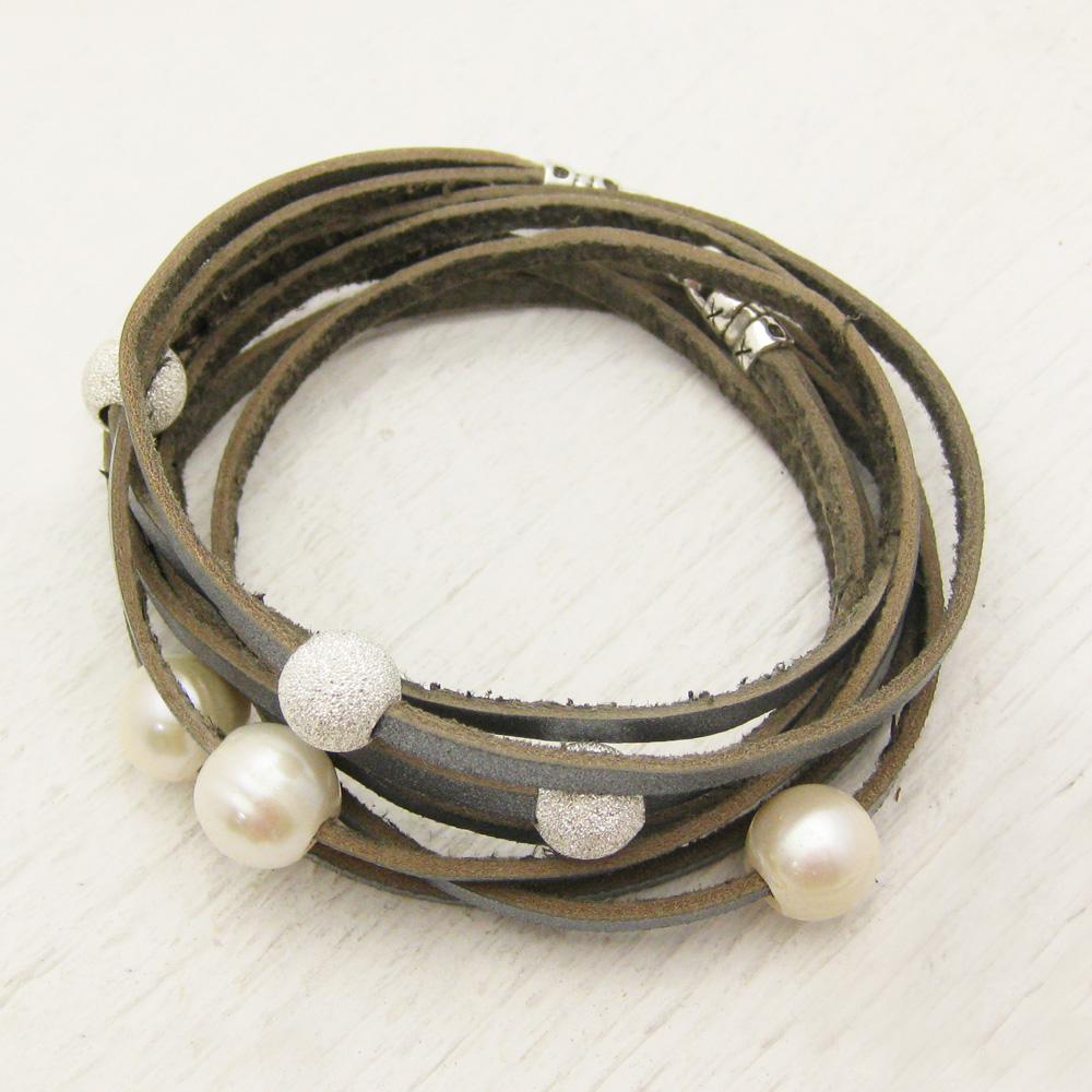 byJodi Jewelry   Silver Leather Wrap Bracelet with ...