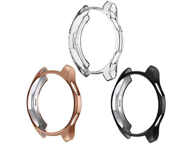 Case Compatible Samsung Galaxy Watch 42mm NaHai TPU Slim Plated Case Shock-Proof Cover All-Around Protective Bumper Shell for Galaxy Watch 42mm Smartwatch 3 Pack ClearBlackRose Gold