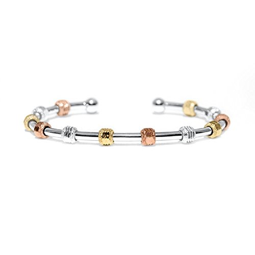 Count Me Healthy Wellness Journal Bracelet - Tricolor with Silver Cuff