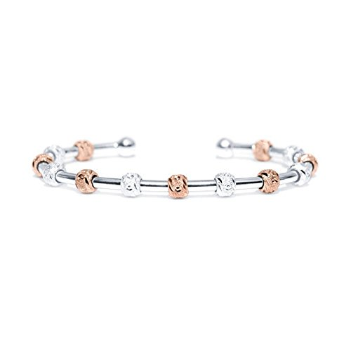 Count Me Healthy Wellness Journal Bracelet - Two Tone Silver and Rose Gold with Silver Cuff