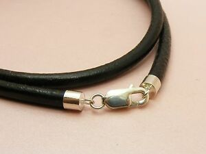 ~Custom Made ~925 STERLING SILVER Genuine 4MM LEATHER ...