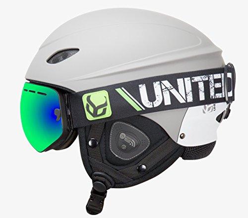 DEMON UNITED Phantom Helmet with Audio and Snow Supra Goggle (Grey, Large)