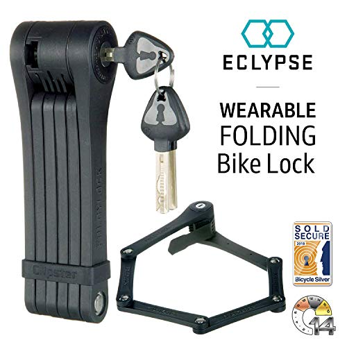 Eclypse Clipster Folding Bike Lock | Wearable Compact Bicycle Lock | Heavy Duty Fold Bike Lock | Anti Pick Bike Folding Lock with Key Set | Weight 2.2lb - 85cm Black