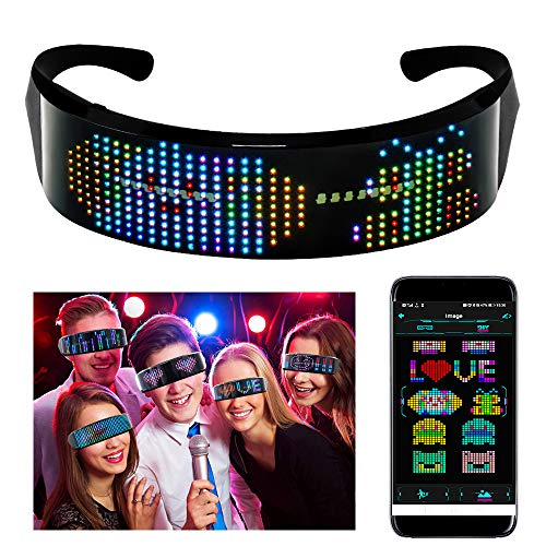 efiealls LED Bluetooth Glasses, Full Color LED Smart Glasses with APP Connected Control DIY/Text/Graffiti/Animation/Rhythm, USB Charging LED Glasses for Parties Halloween Christmas