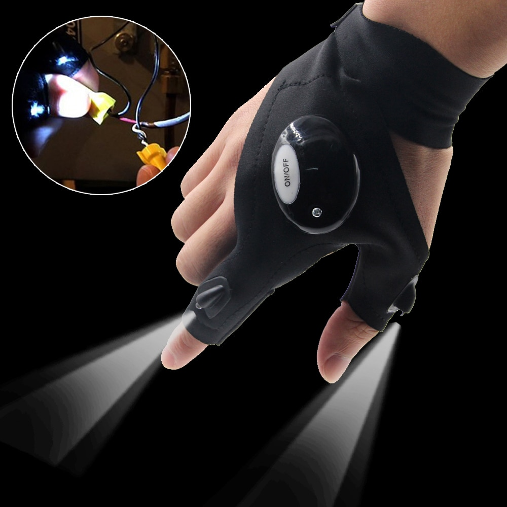 Fishing Magic Strap Fingerless Glove LED Flashlight Torch ...