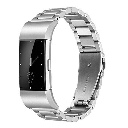 Fitbit Charge 2 Wrist Band, Shangpule Stainless Steel Metal Replacement Smart Watch Band Bracelet with Double Button Folding Clasp for Fitbit Charge 2