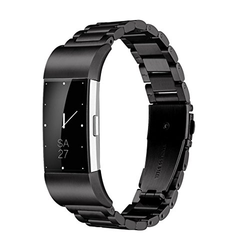 Fitbit Charge 2 Wrist Band,Shangpule Stainless Steel Metal Replacement Smart Watch Band Bracelet with Double Button Folding Clasp for Fitbit Charge 2 (Black)