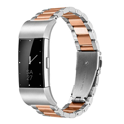 Fitbit Charge 2 Wrist Band,Shangpule Stainless Steel Metal Replacement Smart Watch Band Bracelet with Double Button Folding Clasp for Fitbit Charge 2 (Silver + Rose Gold)