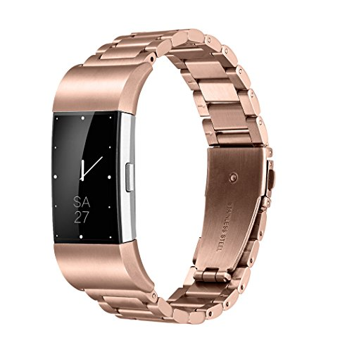 Fitbit Charge 2 Wrist Band,Shangpule Stainless Steel Metal Replacement Smart Watch Band Bracelet with Double Button Folding Clasp for Fitbit Charge 2 (Rose Gold)