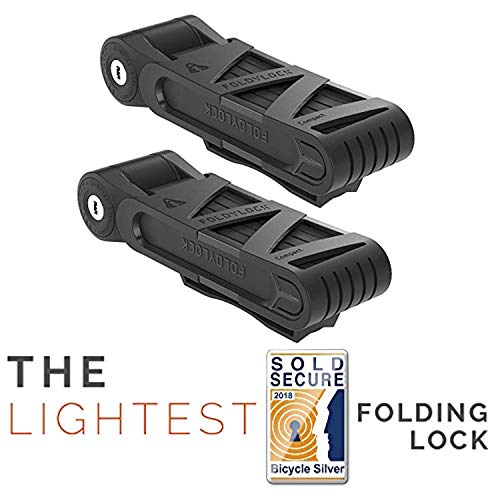 FOLDYLOCK Compact Bike Lock Black, Extreme Bicycle Lock - Heavy Duty Security Bike Chain Lock Steel Bars Carrying Case Included, Unfolds to 85cm or 33.5in, 2.2lb, 2 Pack –Keyed Alike