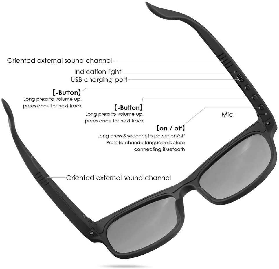 GELETE Smart Glasses Wireless Bluetooth Sunglasses Open ...