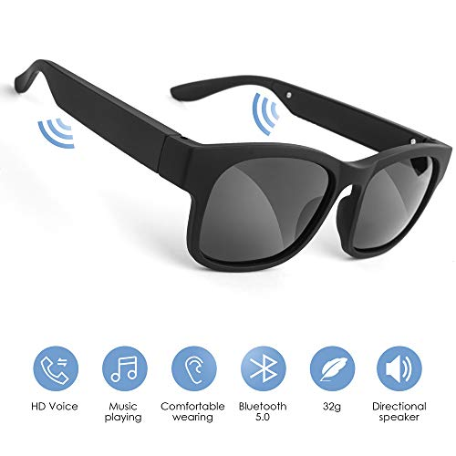 GELETE Smart Glasses Wireless Bluetooth Sunglasses Open Ear Music&Hands-Free Calling,for Men&Women,Polarized Lenses,IP7 Waterproof,Connect Mobile Phones and Tablets (Black)