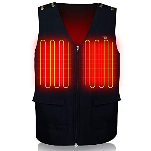 GLOBAL VASION Electric Heated Vest Size Adjustable with Rechargeable Battery Waistcoat for Men