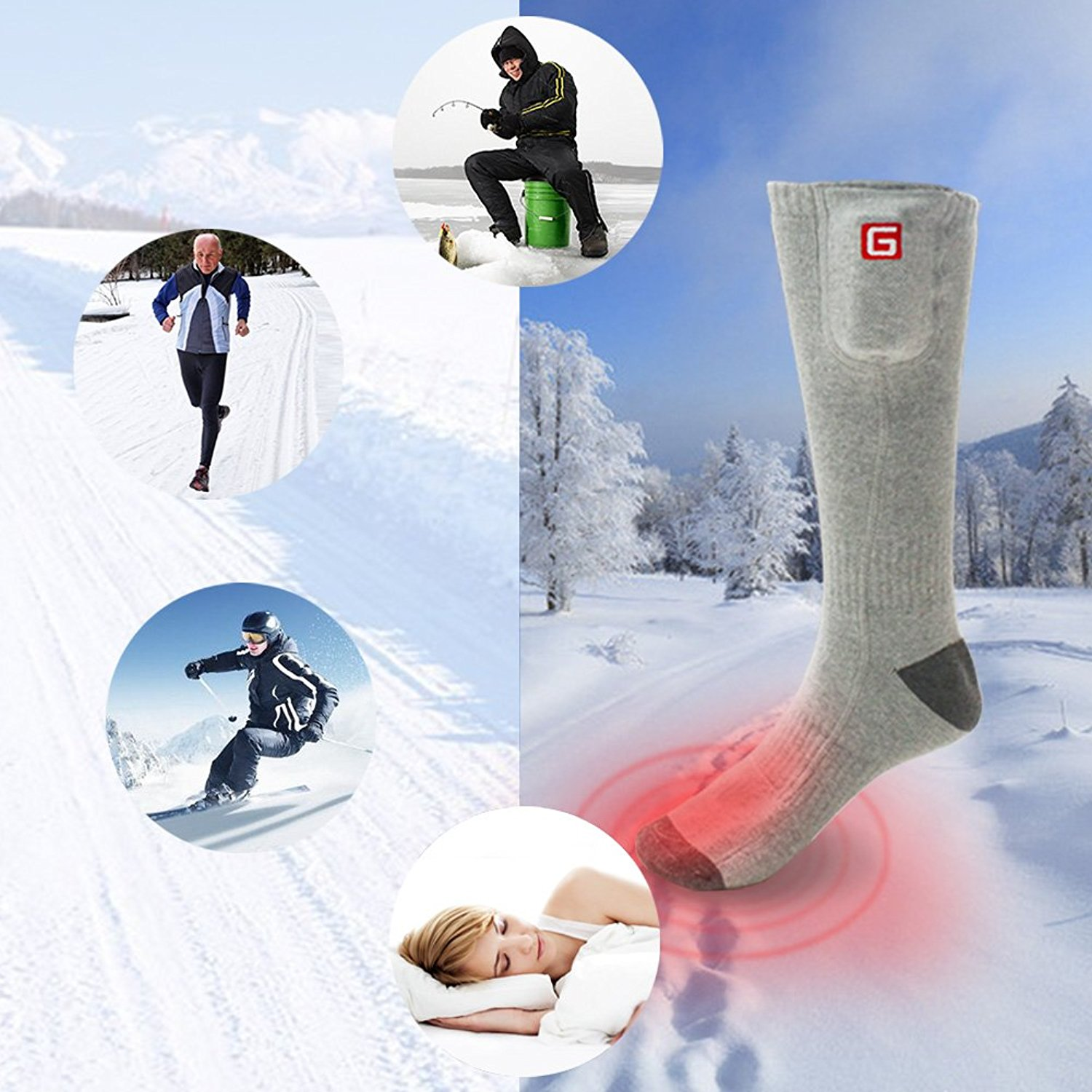 Global Vasion Rechargeable Battery Heated Socks - Electric ...