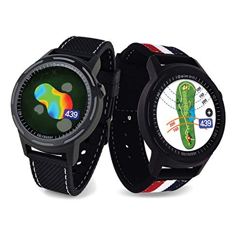 Golf Buddy Aim W10 GPS Watch aim W10 Golf GPS Watch with Red/White/Blue Wristband, Black, Medium