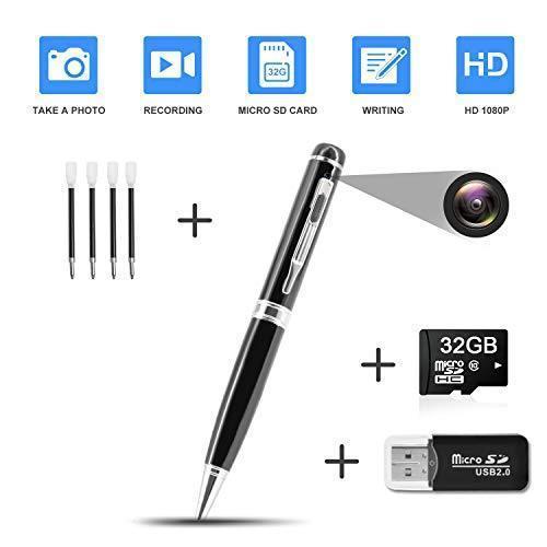 Hidden Pen Camera Spy Pen Camera HD 1080P Clip On Body ...