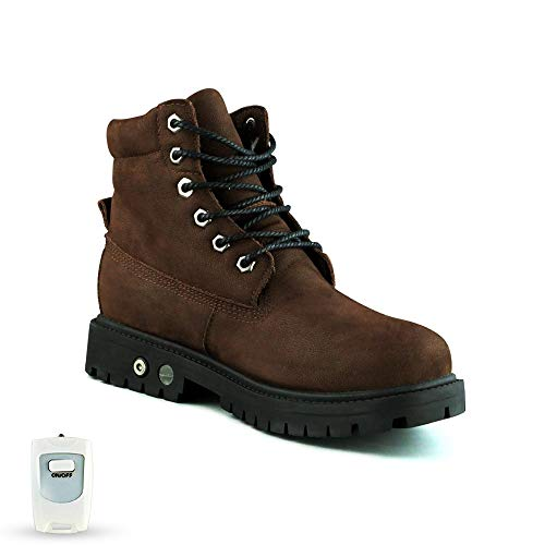 HMSPACES Men's Electric Rechargeable Heated Shoes, Soft Toe Rubber Work Boots, 140°F/113°F Heating, Fur Lined, Weatherproof for Cold Weather Snow Winter (8.5, Brown)