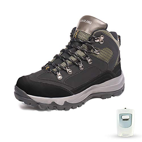 HMSPACES Men's Rechargeable Electric Heated Shoes, Snow Warm Boots for Angler Camper Hiker Walker in Cold Weather Winter (Green/Black, 10.5)