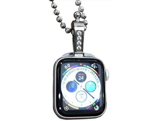 iClasp Apple Watch Jewelry Necklace Adapter Pendant,Introducing (The Polished Stainless Steel. (Comes with 30 inch Stainless Rollo Box Chain 3.5 mm) (Apple Watch Not Included). Not Apple Product.