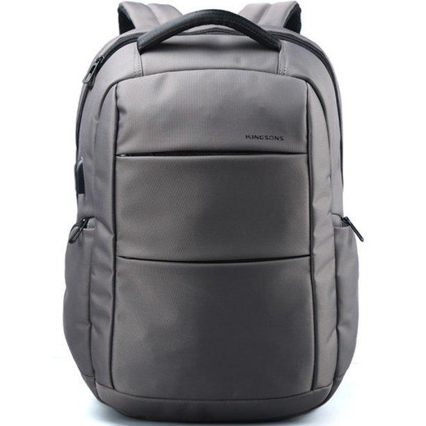 "Kingsons 15.6"" Smart Backpack w/ USB Charging Port (Gray)"