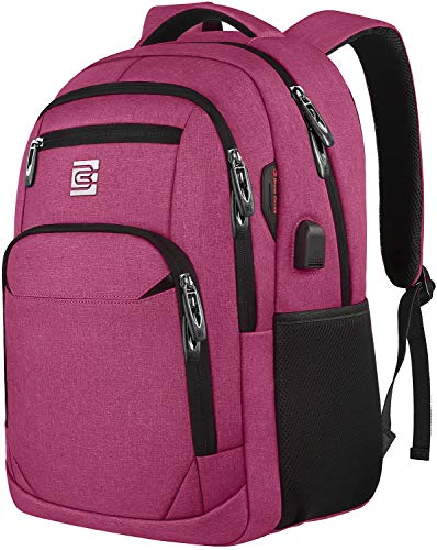 Laptop Backpack,Business Travel Anti Theft Slim Durable Laptops Backpack with USB Charging Port,Water Resistant College Computer Bag for Women & Men Fits 15.6 Inch Laptop-Rose Red