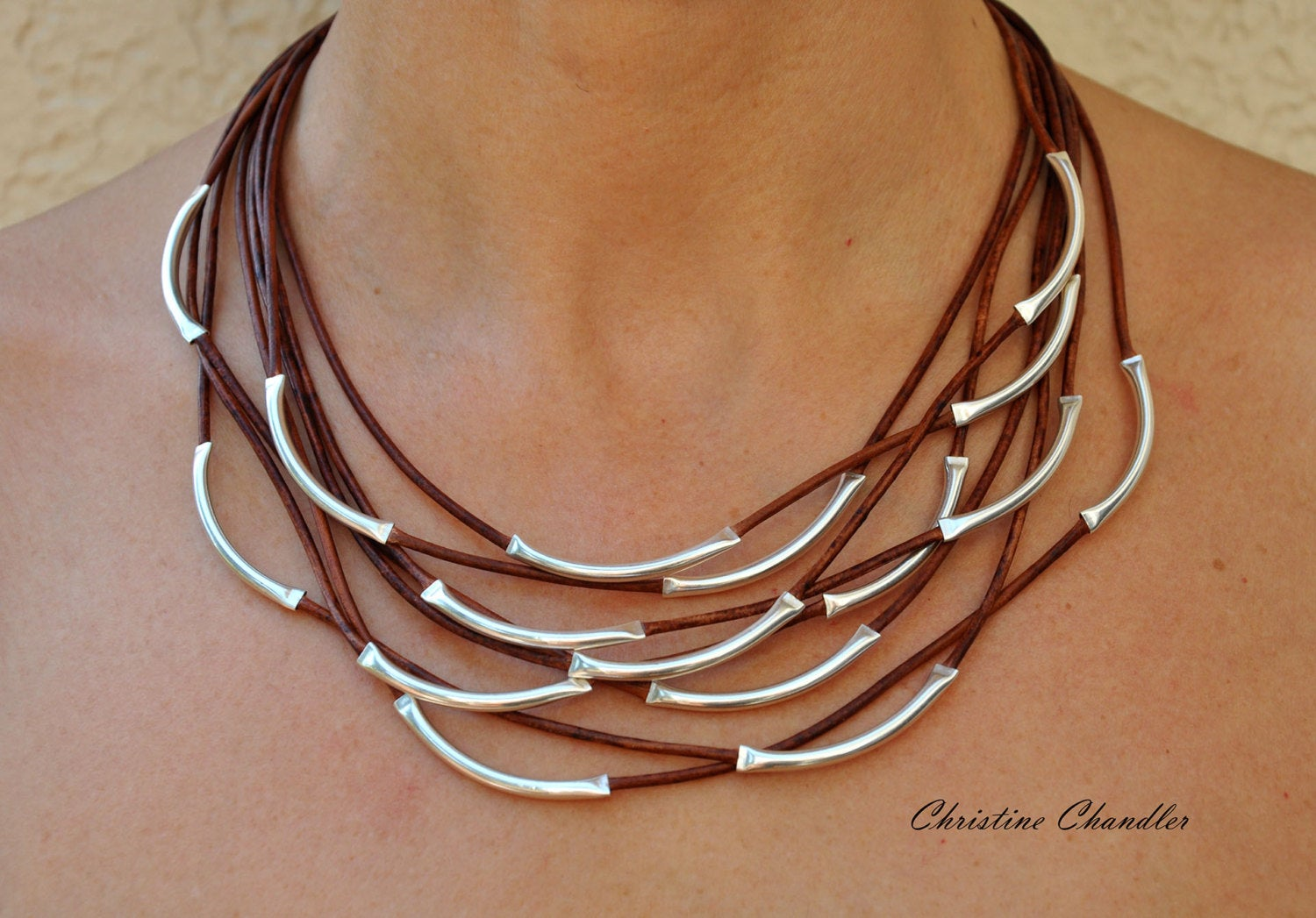 Leather Necklace Leather and Sterling Silver Necklace