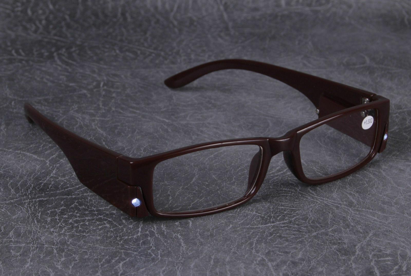 LED Reading Glasses Light Up Plastic Frame Magnifier ...