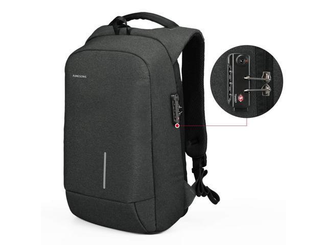 "Lightweight Travel Laptop Backpack, Kingsons Business Travel Computer Bag Slim Laptop Rucksack 15.6"" with USB Charging Port TSA Lock Anti Theft Bag Water Resistant for 15.6-Inch Laptop Bag(Dark Grey)"