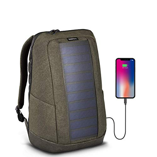 Like Hanergy - Sunnybag ICONIC solar portable backpack charger in olive brown   7 Watt water resistant solar panel   Charge all Smartphones and portable USB devices   20L volume