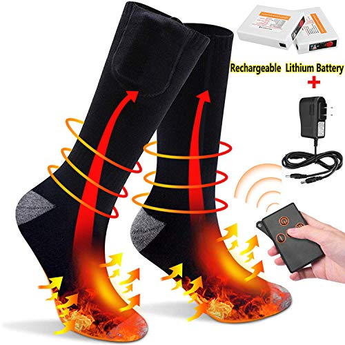 Like Pristall - JINGOU Rechargeable Heated Socks Remote Control Electric Socks 3 Heating Settings Winter Thermal Socks for Women Men Outdoor Activities, Smart Li-Polymer Battery Socks