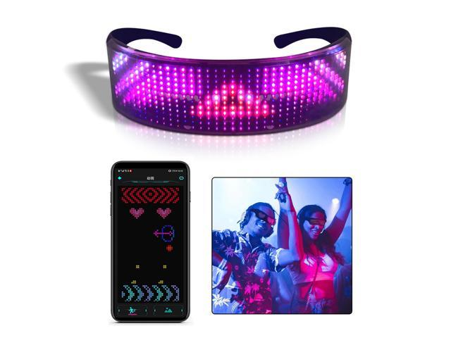 Magic Bluetooth Led Party Glasses App Control Shield Luminous Glasses Usb Charge Diy Quick Flash Led Shining Glasses For Dj Stage, Christmas Party