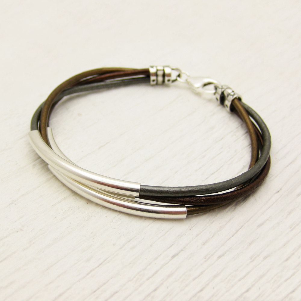 Metallic Leather & Sterling Silver Bracelet / unisex gold ...