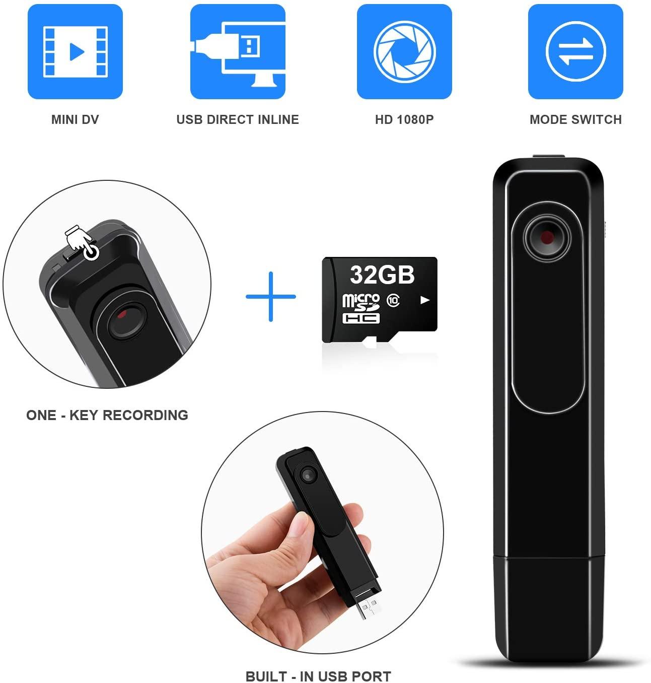 Mini Body Camera DZFtech Body Spy Cam HD 1080P Wireless ...