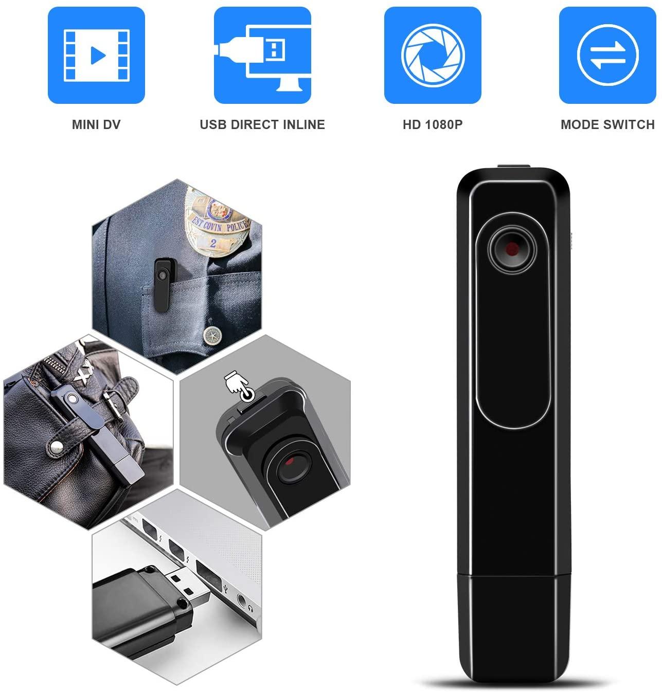 Mini Body Camera with USB Port DZFtech Body Spy Cam HD ...