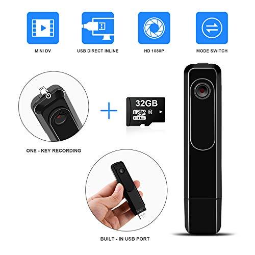 Mini Body Camera with USB Port DZFtech Body Spy Cam HD 1080P Wireless Portable Hidden Spy Pen Body Cameras Wearable Video Recorder with Clip Body Camera (Camera with 32GB Card)