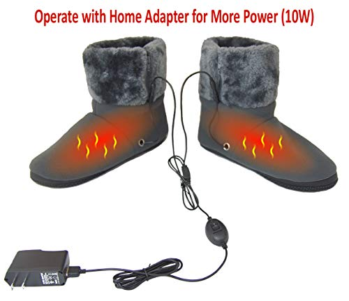 ObboMed MF-2305M Far Infrared Carbon Fiber Heated Foot Warmer/Boots/Slippers, USB 5V 10W – Far Infrared Wavelength 8-15 μm (Health Range: 4-14 μm), Auto Off, Size M: (fits Foot up to 41)