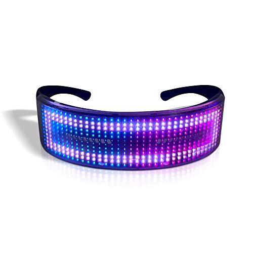 OWSOO LED Party Glasses BT APP Control LED Light Up Glasses Flashing Glowing Luminous Glasses USB Rechargeable DIY Animation for Christmas Birthday Party Nightclub