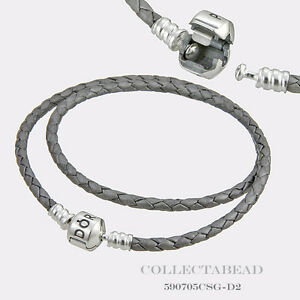 Pandora Sterling Silver Double Silver Leather 16.1 ...